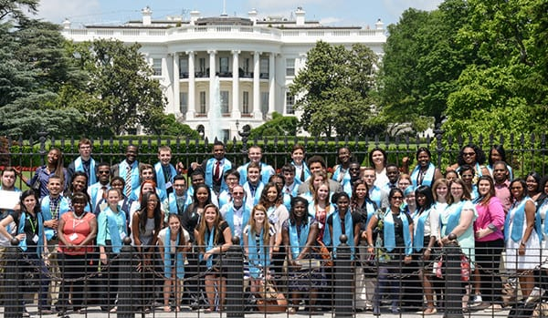 NFYI In The News-08 - April 2016 - Large Group of Students Wearing Blue Sashes Pose in Front of the White House