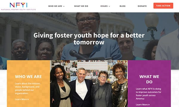 NFYI In The News-05 - May 2016 - Screen Shot of New Website Giving Foster Youth Hope for a Better Tomorrow