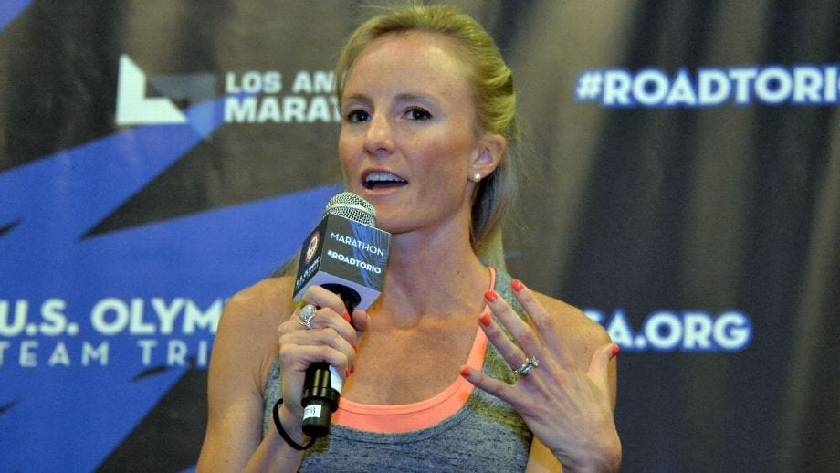 While she continues to recover from a back injury, Shalane Flanagan will be doing on-air commentary of this year's Boston Marathon. Kirby Lee-USA Today Sports
